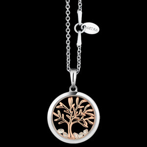ASTRA TREE OF LIFE 16MM CIRCLE STERLING SILVER ROSE GOLD NECKLACE