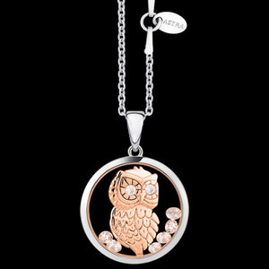ASTRA WISE OWL 20MM CIRCLE STERLING SILVER ROSE GOLD NECKLACE