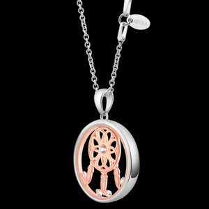 ASTRA DREAM CATCHER 20MM CIRCLE STERLING SILVER ROSE GOLD NECKLACE - SIDE VIEW