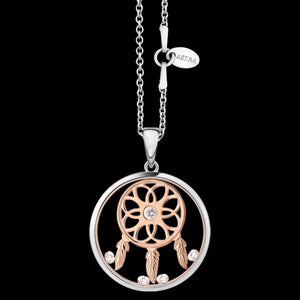 ASTRA DREAM CATCHER 20MM CIRCLE STERLING SILVER ROSE GOLD NECKLACE