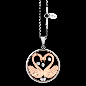 ASTRA MY SWEETHEART 20MM CIRCLE STERLING SILVER ROSE GOLD NECKLACE