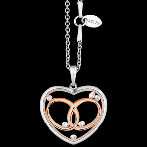 ASTRA FOREVER AND ALWAYS 20MM HEART STERLING SILVER ROSE GOLD NECKLACE