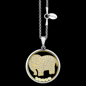 ASTRA LOYAL COMPANION ELEPHANT 20MM CIRCLE STERLING SILVER GOLD NECKLACE