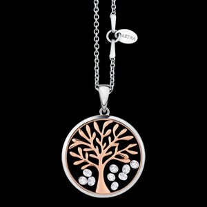 ASTRA TREE OF LIFE 20MM CIRCLE STERLING SILVER ROSE GOLD NECKLACE