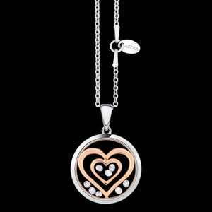 ASTRA DOUBLE HEART 16MM CIRCLE STERLING SILVER ROSE GOLD NECKLACE