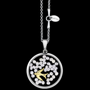 ASTRA SWALLOW 16MM CIRCLE STERLING SILVER GOLD NECKLACE