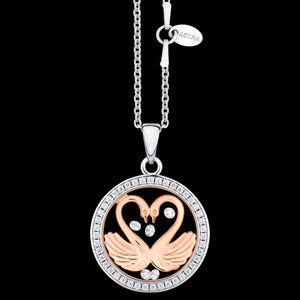 ASTRA MY SWEETHEART 16MM CZ CIRCLE STERLING SILVER ROSE GOLD NECKLACE