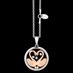 ASTRA MY SWEETHEART 16MM CIRCLE STERLING SILVER ROSE GOLD NECKLACE