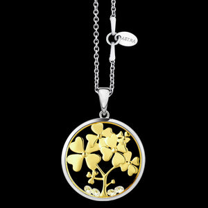 ASTRA TREE OF LOVE 20MM CIRCLE STERLING SILVER GOLD NECKLACE