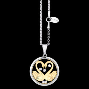 ASTRA MY SWEETHEART 16MM CIRCLE STERLING SILVER GOLD NECKLACE