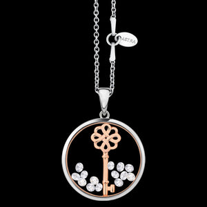 ASTRA LUCKY KEY 20MM CIRCLE STERLING SILVER ROSE GOLD NECKLACE