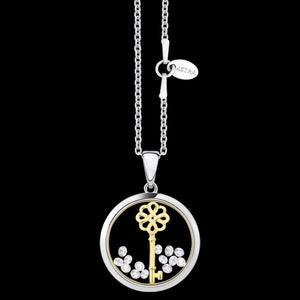 ASTRA LUCKY KEY 16MM CIRCLE STERLING SILVER GOLD NECKLACE