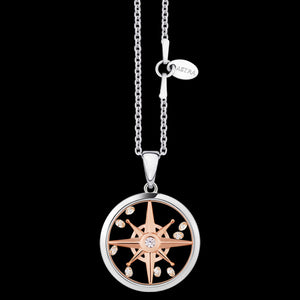ASTRA COMPASS STAR 16MM CIRCLE STERLING SILVER ROSE GOLD NECKLACE