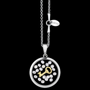 ASTRA KEY 16MM CIRCLE STERLING SILVER GOLD NECKLACE