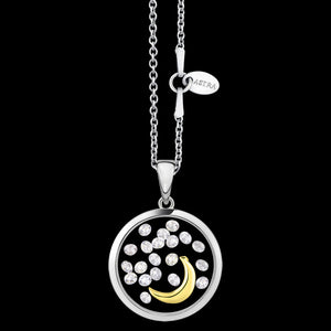 ASTRA MOON 16MM MOON STERLING SILVER GOLD NECKLACE