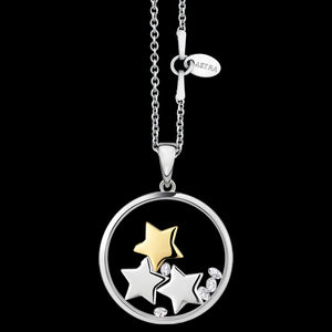 ASTRA LUCKY STARS 20MM CIRCLE STERLING SILVER GOLD NECKLACE