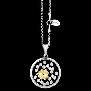 ASTRA CLOVER 16MM CIRCLE STERLING SILVER GOLD NECKLACE