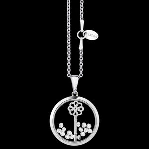 ASTRA LUCKY KEY 16MM CIRCLE STERLING SILVER NECKLACE