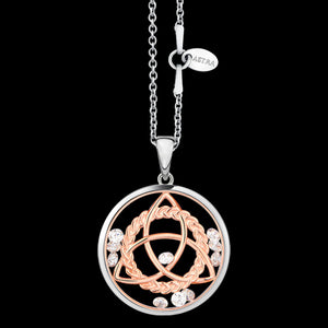 ASTRA TRINITY KNOT 20MM CIRCLE STERLING SILVER ROSE GOLD NECKLACE