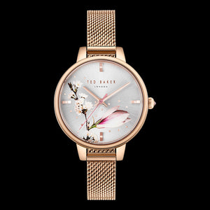TED BAKER LADIES KATE MAGNOLIA 32MM ROSE GOLD FLORAL MESH WATCH
