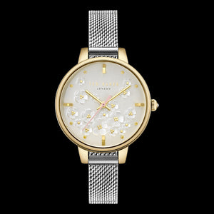 TED BAKER LADIES KATE BUTTERCUP 32MM GOLD TWO-TONE MESH WATCH