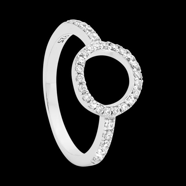 ELLANI STERLING SILVER CZ PAVE OPEN CIRCLE RING