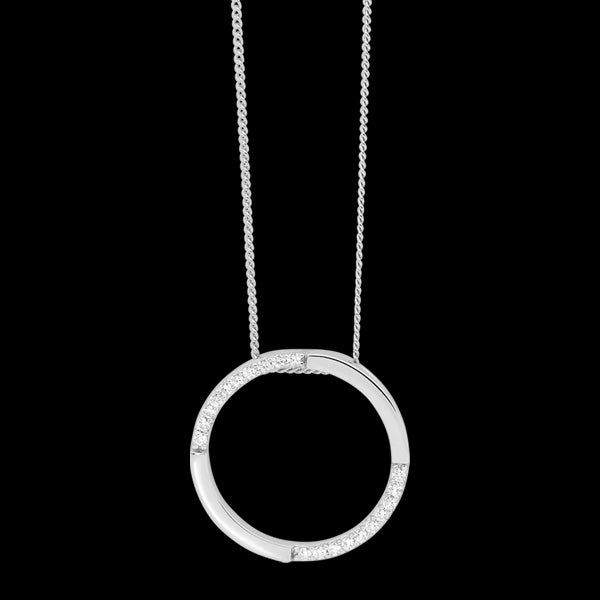 ELLANI STERLING SILVER HALF PAVE CZ OPEN CIRCLE NECKLACE