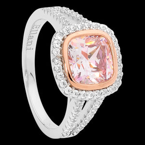 ELLANI STERLING SILVER MORGANITE CZ CUSHION CUT ROSE GOLD BEZEL RING