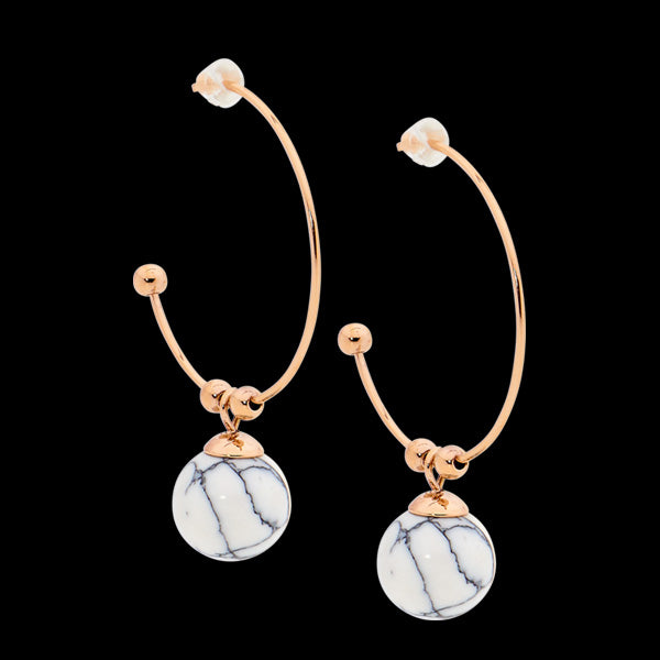 ELLANI STAINLESS STEEL ROSE GOLD 27MM HOOP HOWLITE BALL EARRINGS