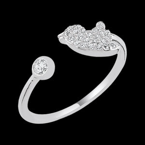 LUXXURY STERLING SILVER BIRDIE PAVE CZ ADJUSTABLE RING
