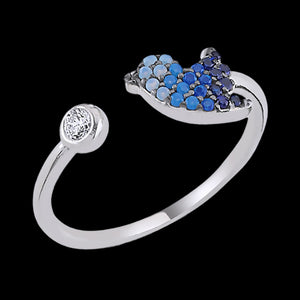 LUXXURY STERLING SILVER BIRDIE PAVE BLUE CZ ADJUSTABLE RING