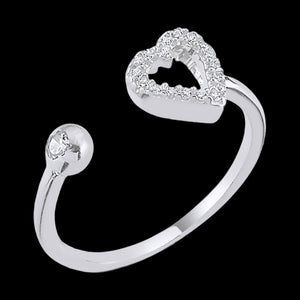 LUXXURY STERLING SILVER HEART CZ ADJUSTABLE RING