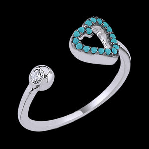 LUXXURY STERLING SILVER HEART MICRO TURQUOISE CZ ADJUSTABLE RING