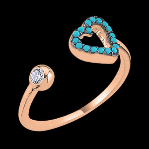 LUXXURY STERLING SILVER ROSE GOLD HEART MICRO TURQUOISE CZ ADJUSTABLE RING