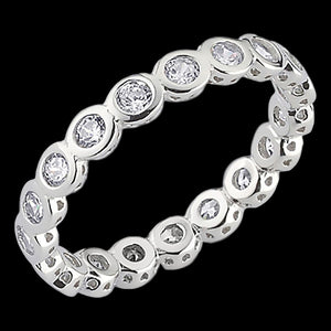 LUXXURY STERLING SILVER BUBBLE CZ ETERNITY RING