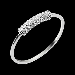 LUXXURY STERLING SILVER TUBE PAVE CZ STACKER RING