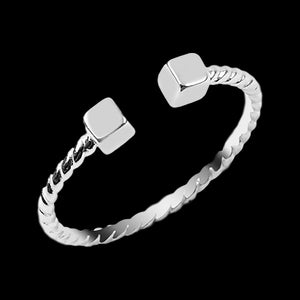 LUXXURY STERLING SILVER CUBES ADJUSTABLE STACKER RING