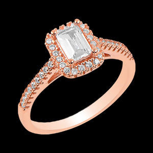 LUXXURY STERLING SILVER ROSE GOLD BAGUETTE SOLITAIRE HALO RING