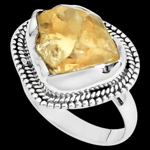STERLING SILVER 10.6 CARAT ROUGH CITRINE SURROUND RING
