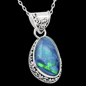 STERLING SILVER 11.7 CARAT BLUE AUSTRALIAN OPAL TRIPLET DROPLET NECKLACE