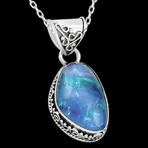 STERLING SILVER 11.9 CARAT BLUE AUSTRALIAN OPAL TRIPLET DROPLET NECKLACE