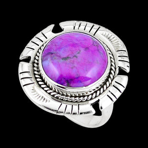 STERLING SILVER 12.3 CARAT PURPLE COPPER TURQUOISE ROUND SURROUND RING