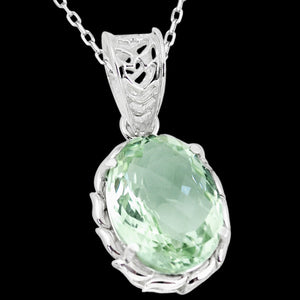 STERLING SILVER 16.2 CARAT GREEN AMETHYST OVAL CUT NECKLACE