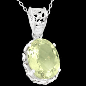 STERLING SILVER 18.2 CARAT LEMON QUARTZ OVAL CUT NECKLACE