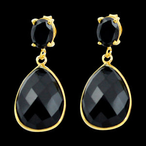 STERLING SILVER 19.1 CARAT BLACK ONYX 14K GOLD PLATE DROPLET EARRINGS