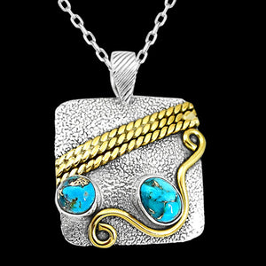 STERLING SILVER 2.8 CARAT BLUE COPPER TURQUOISE DUO SQUARE 18K GOLD PLATE NECKLACE