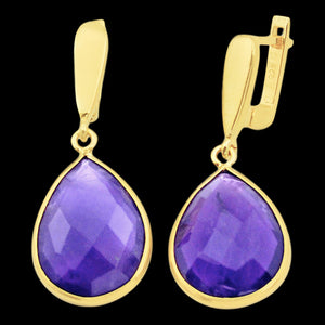 STERLING SILVER 22 CARAT AMETHYST 14K GOLD PLATE DROPLET EARRINGS