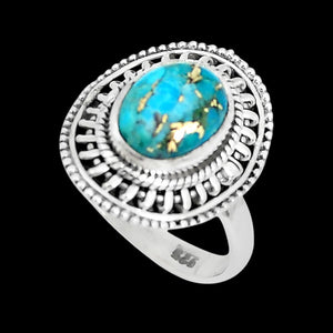 STERLING SILVER 4.3 CARAT BLUE COPPER TURQUOISE OVAL SURROUND RING