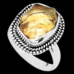 STERLING SILVER 7.8 CARAT ROUGH CITRINE SURROUND RING