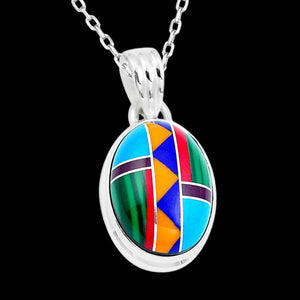 STERLING SILVER 11.4 CARAT MULTI STONE INLAY OVAL NECKLACE